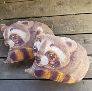 Vintage Racoon Accent Pillows 70s 80s Home Decor